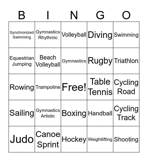 SUMMER OLYMPICS 2016 Bingo Card