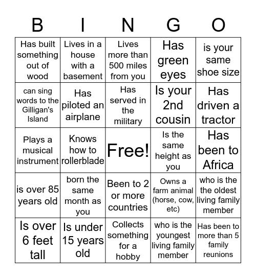 Taylor Jessup Family Bingo Card