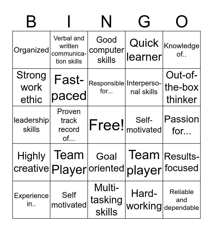 Resume Words Bingo Card