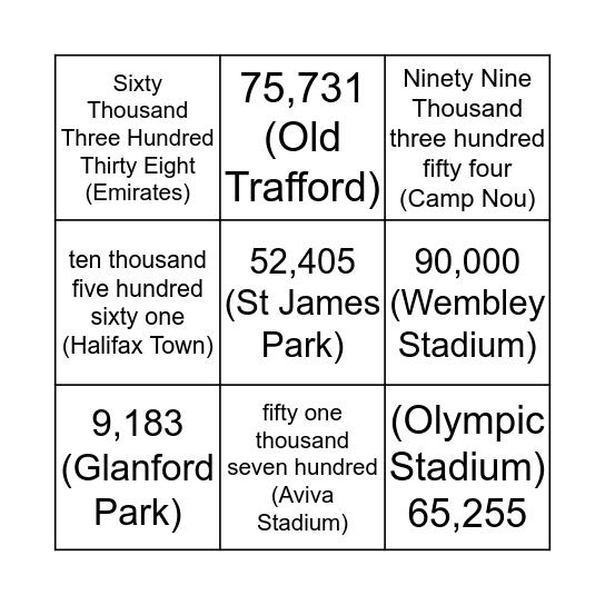 Capacity Bingo Card