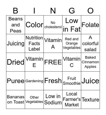 Fruits & Vegetables Bingo Card
