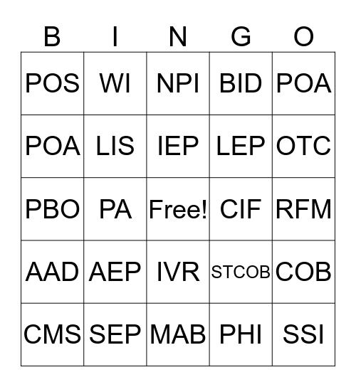 Bingo Baker Bingo Card