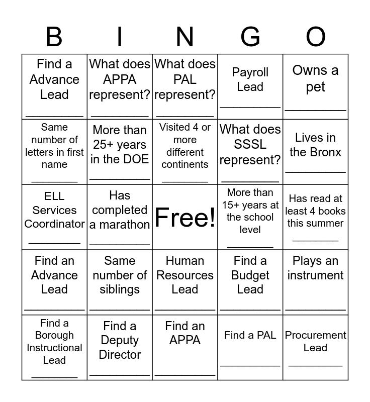 Find Someone Who ... Bingo Card