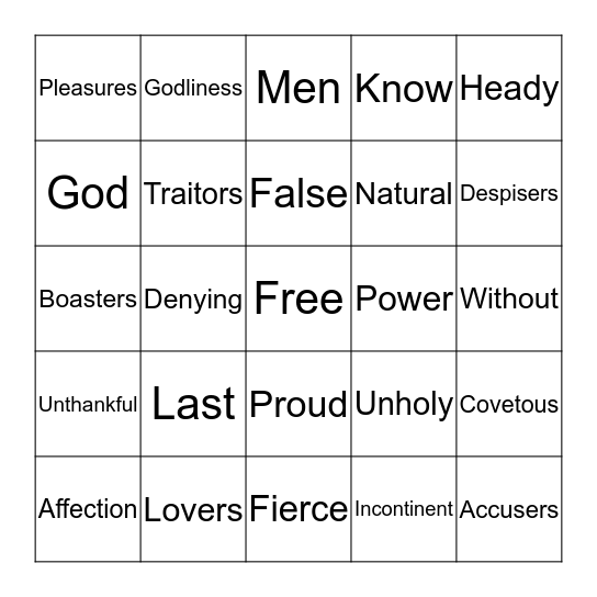 Day 5: 2 Timothy 3:1-5 Bingo Card