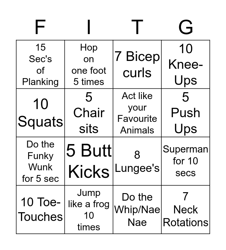 Fitness Bingo Card