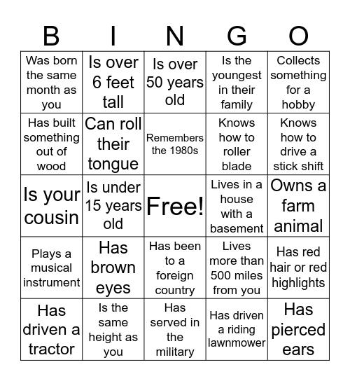 Kinghorn Family Reunion 2016 Bingo Card