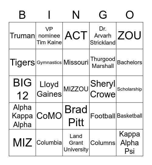 University of Missouri Bingo Card