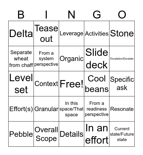 JC Bingo Card