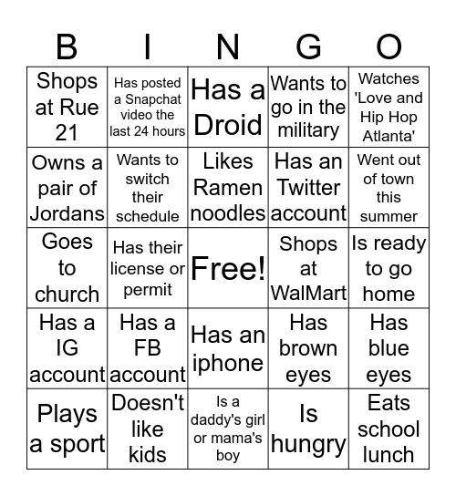 Stone's Mingle Bingo Card