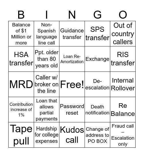Call Bingo Card