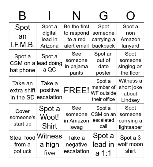 Amazon Lead Bingo Card