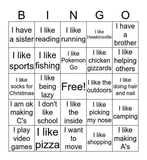 Things in Common Bingo Card