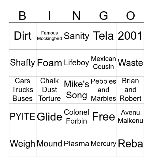 Frank's Shafty'd BINGO Card Bingo Card