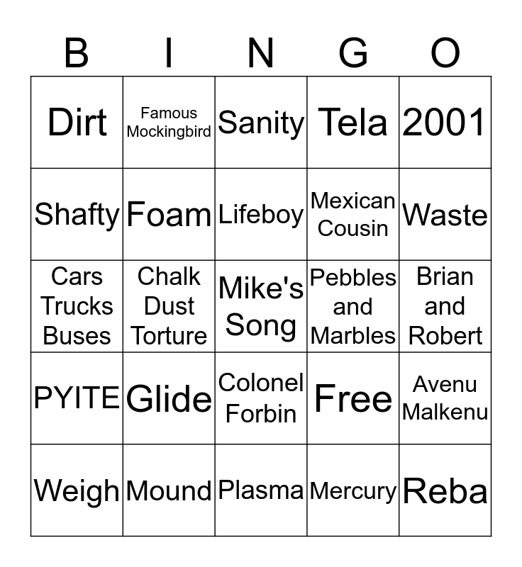 Frank's Shafty'd BINGO Card Bingo Card