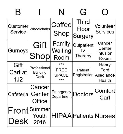 Volunteer Services Bingo! Bingo Card