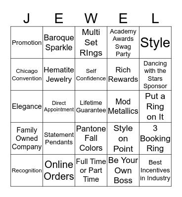 Park Lane Jewelry Bingo Card