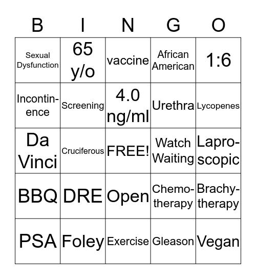 Prostate Bingo Card