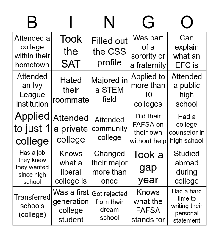 College Knowledge Bingo Card