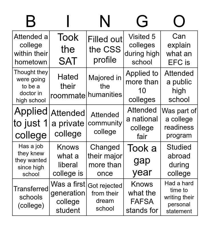 College Knowledge Bingo Card