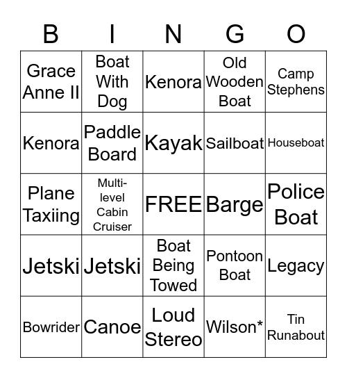 Devil's Gap Boat Bingo Card