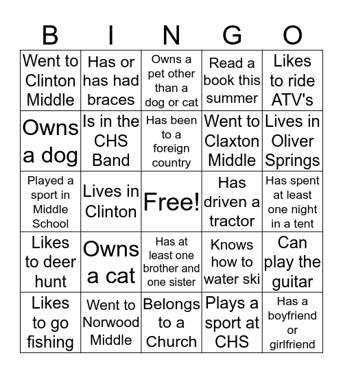 First Day Bingo Card
