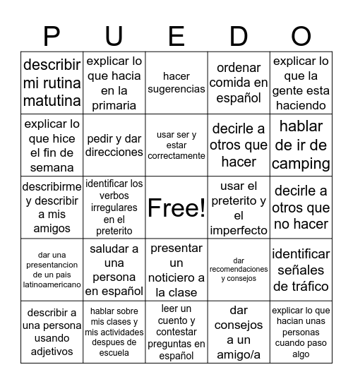 Yo Bingo Card