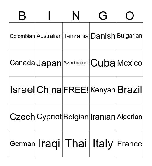 COUNTRIES & NATIONALITIES Bingo Card