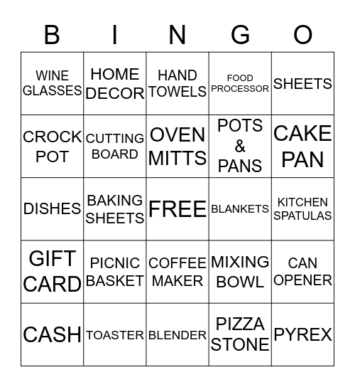 Shelby & Greg Wedding Shower Bingo Card