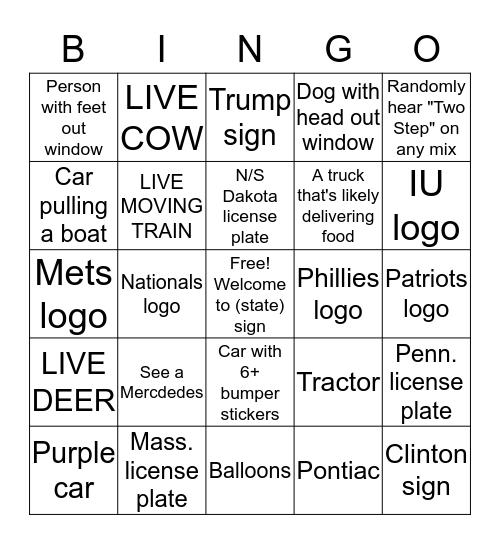 Driving Bingo Summer 2016 Bingo Card