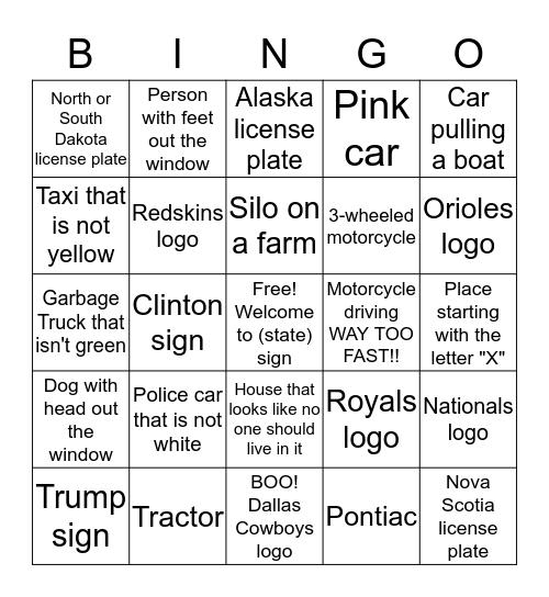 Driving Bingo Summer 2016 Sheet III Bingo Card