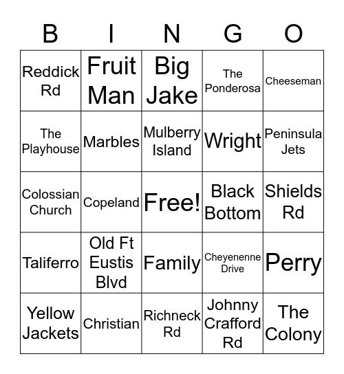 Mulberry Island/Colony Reunion Bingo pt2 Bingo Card