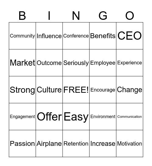 Buzz Word Bingo Card
