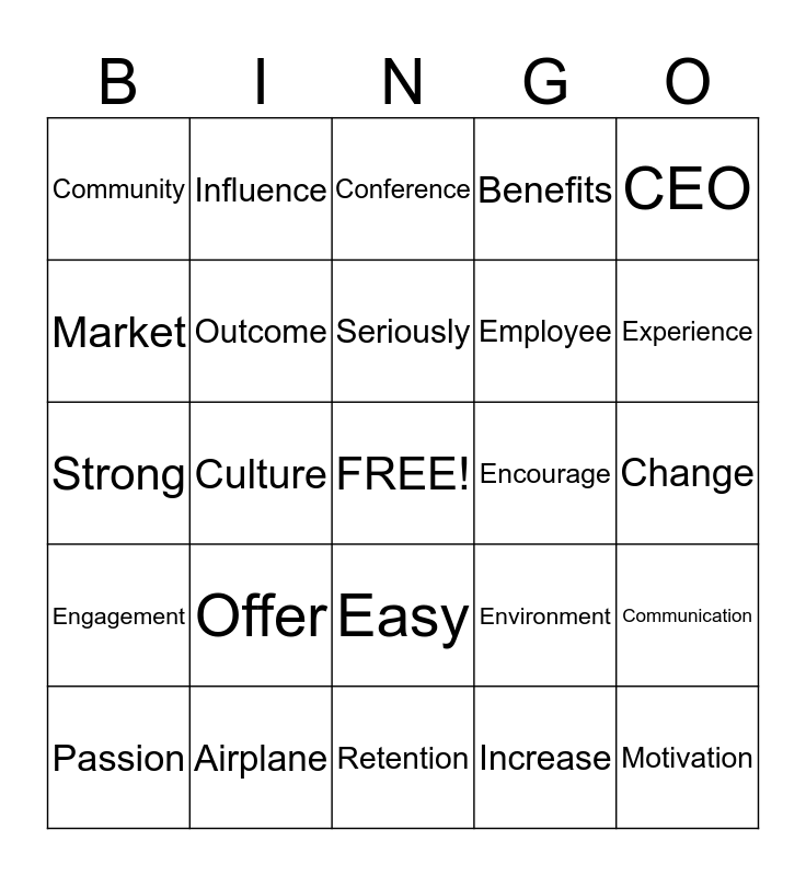 Buzz Word Bingo Card