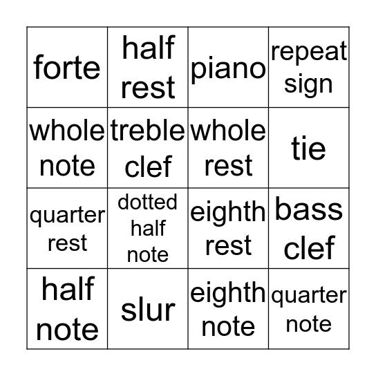Musical Terms Bingo Card