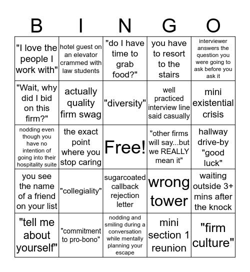 OCI Bingo Card