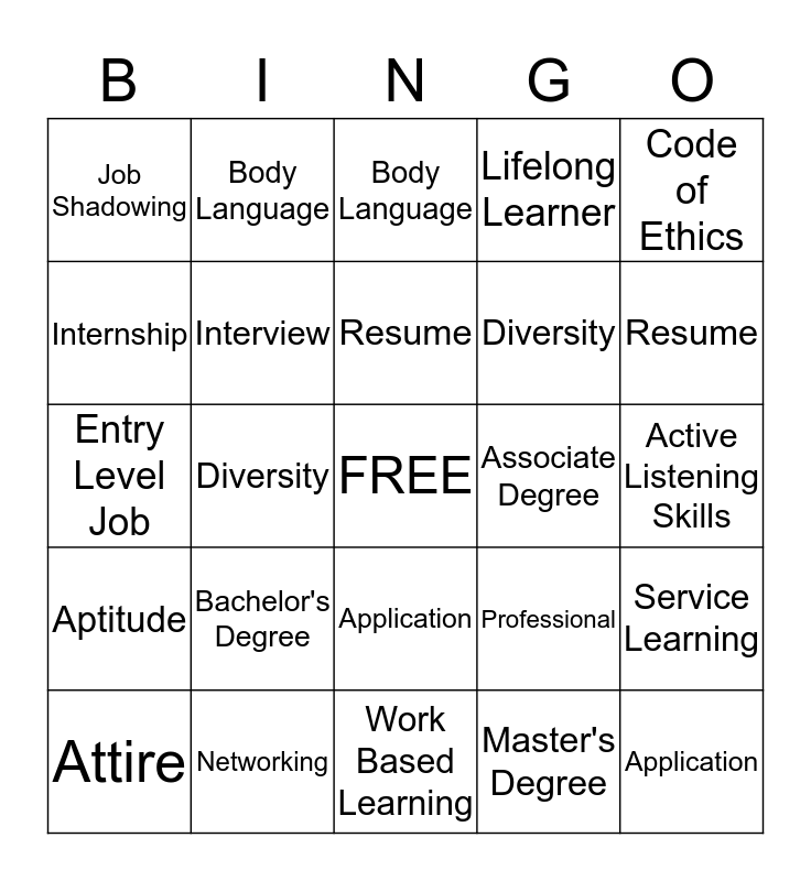 Unit 6 Bingo Card