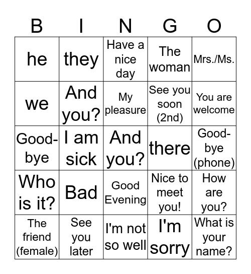 English Bingo Card