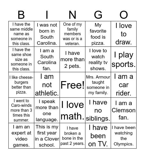 Classmate Bingo Card