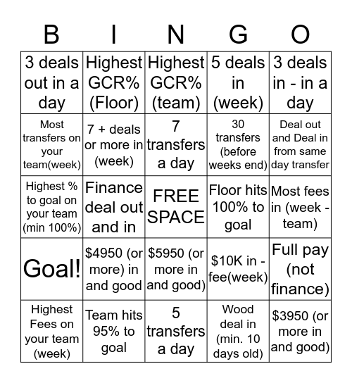 DC Bingo Card