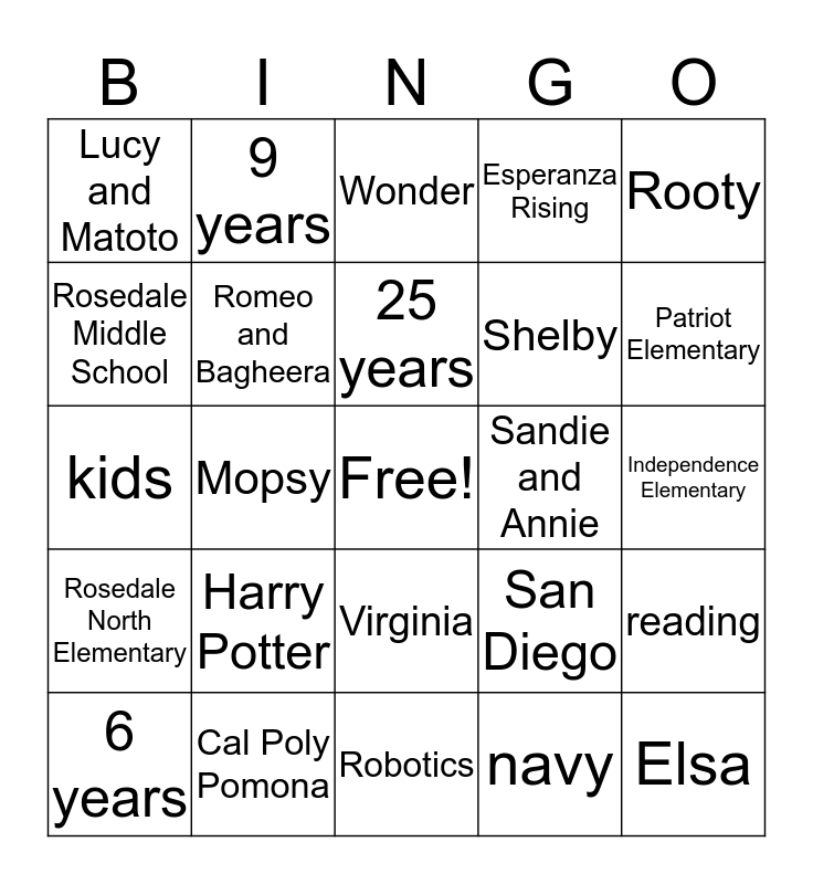 Mrs. Bristol Bingo Card