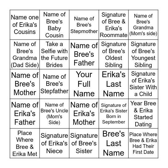 Bree & Erika's Engagement Party Raffle! Bingo Card