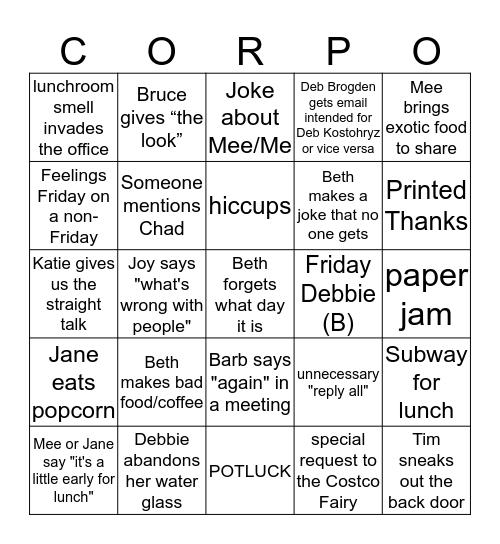 Corporate Bingo Card