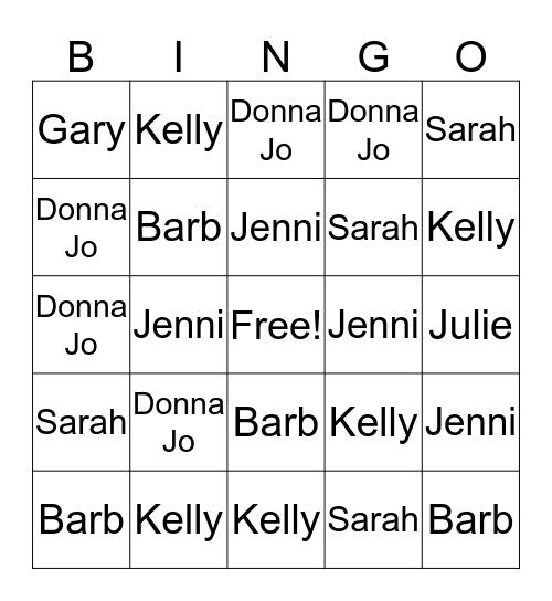 Hoffman CS Bingo 8/12/16 Bingo Card