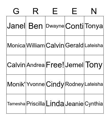 Green Family Reunion Bingo Card