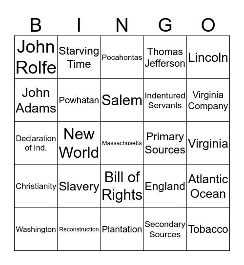 US History - Review Terms Bingo Card