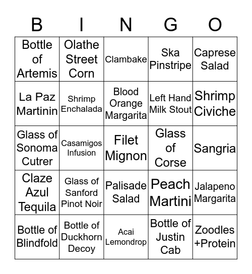 Chimayo Stone Fired Kitchen Bingo Card