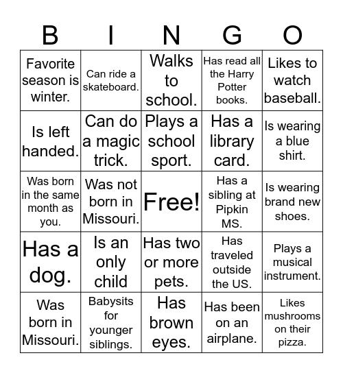 Pipkin MS Reading-A Bingo  Bingo Card