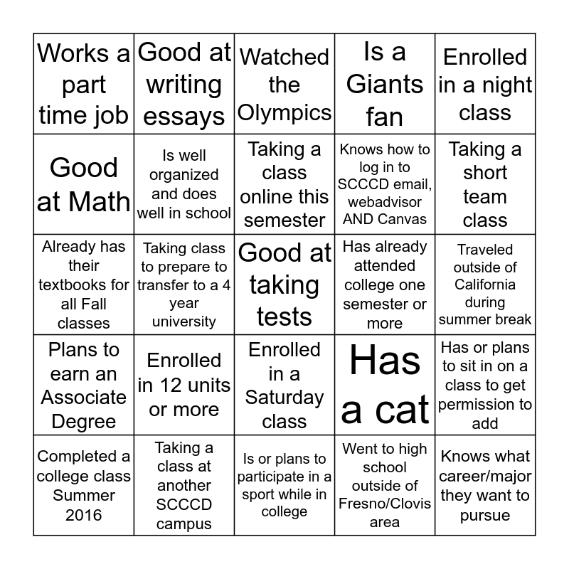 Get to Know Your FYE Classmates Bingo Card