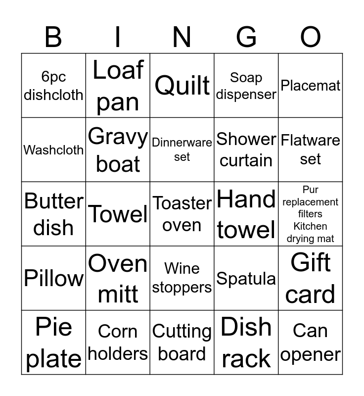 What`s she going to get? Bingo Card