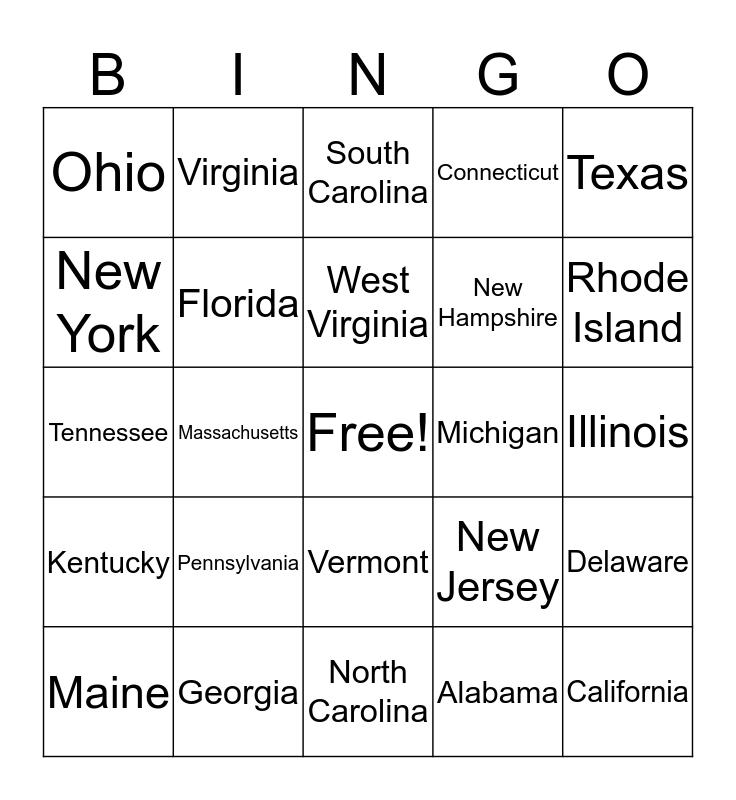 License Plate Bingo  (East) Bingo Card